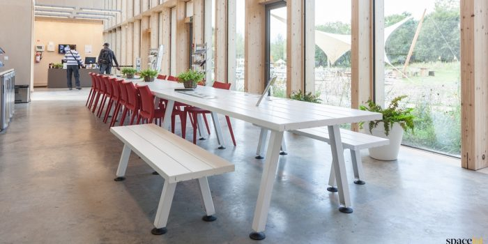 Marina white long cafe + canteen table