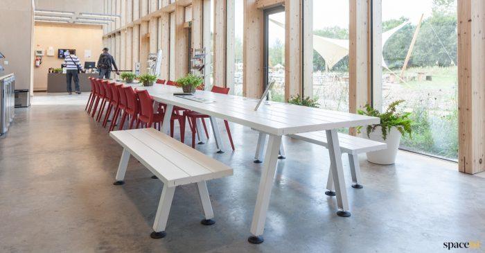 Marina white long cafe + canteen table