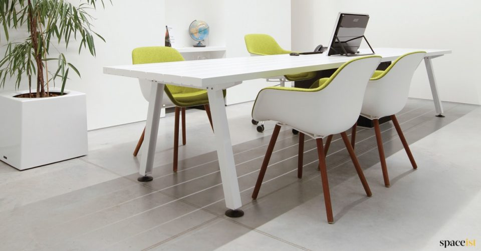 Marina white long meeting table