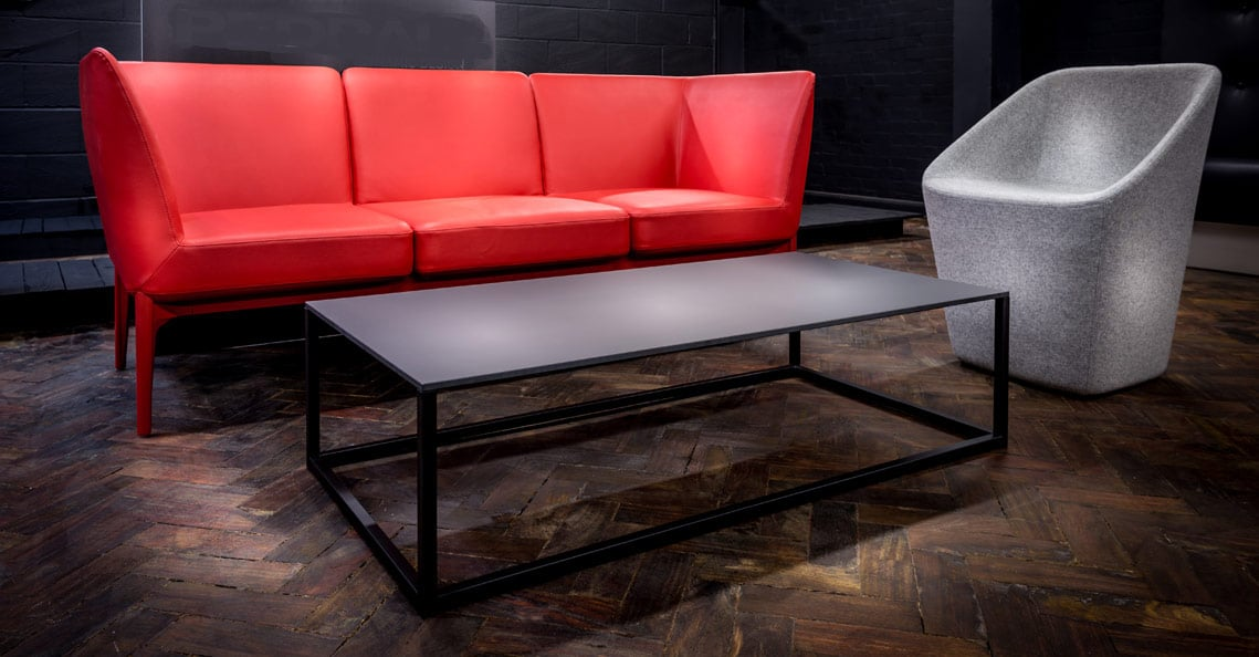Spaceist new showroom red reception sofa 1