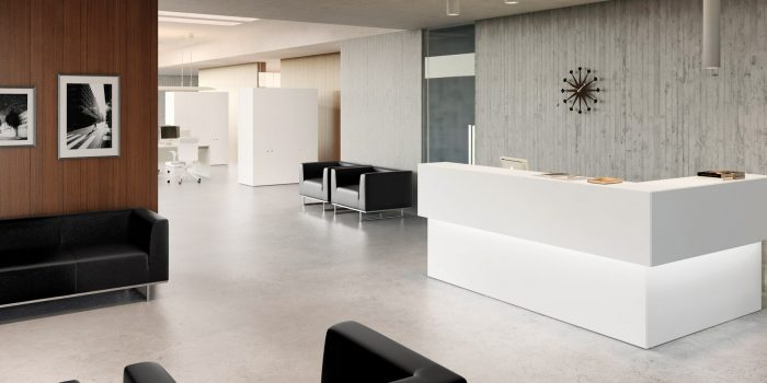White corner reception desk with LED light
