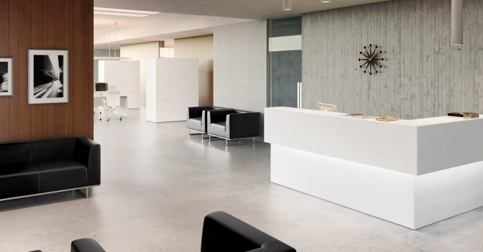 White corner reception desk with LED light