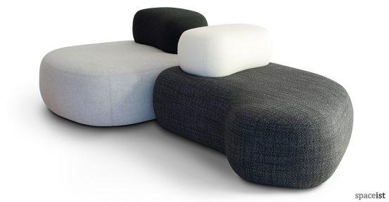 Black and grey pebble reception sofa