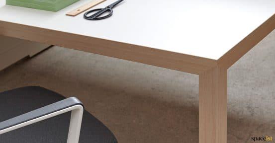 White + oak desk closeup