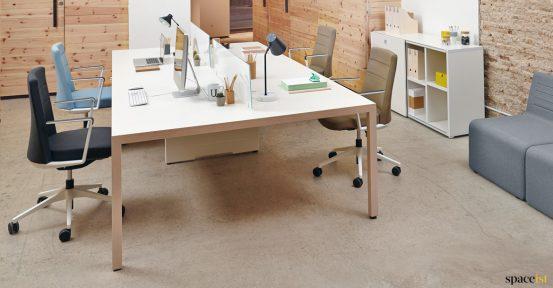 Oak + white office desk