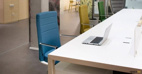 Prism desk colourful chairs