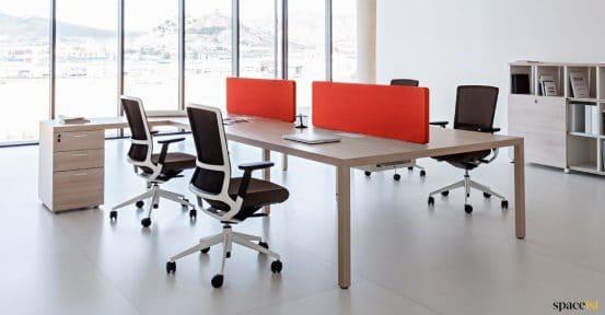 Oak bench desk orange screens