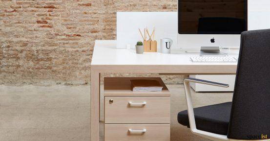 Oak + white bench desk