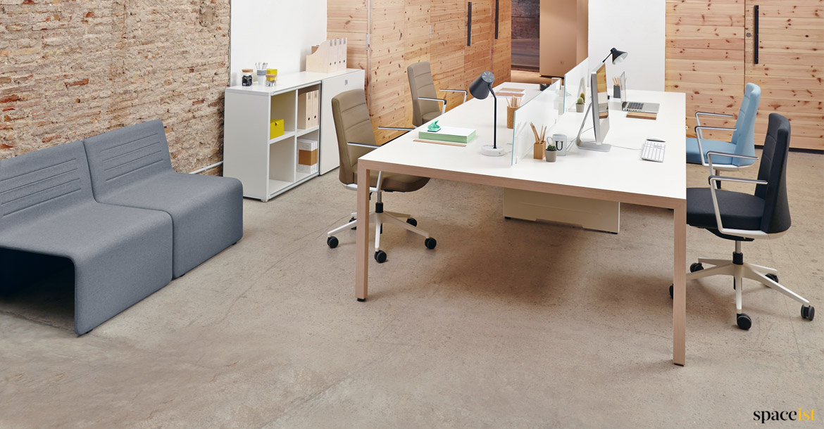 Fine Prism White And Oak 4 Person Desk Spaceist Cjindustries Chair Design For Home Cjindustriesco