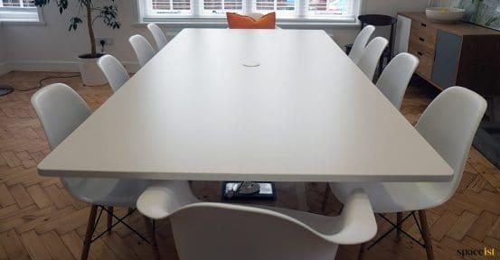 White meeting table closeup