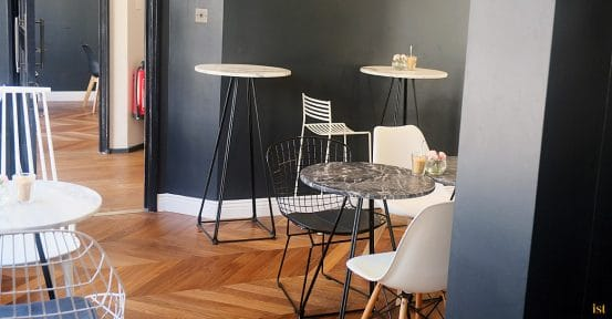 Bar stool tables in white marble