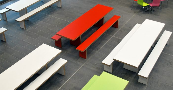 Red white green canteen tables