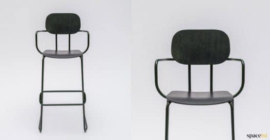 High bar stool in dark plywood