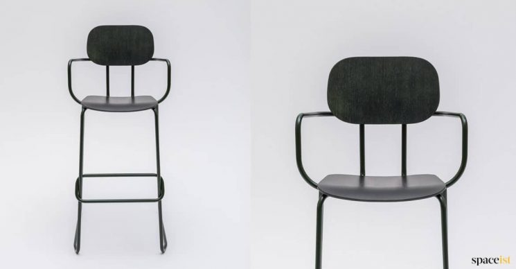 High bar stool in dark plywood
