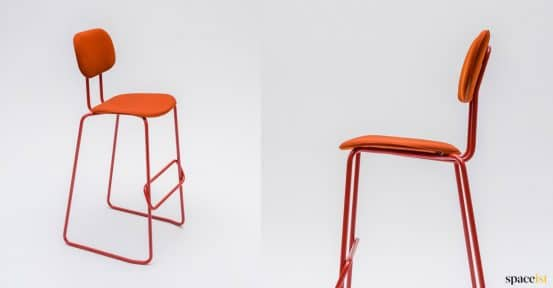 Orange high stool in fabric