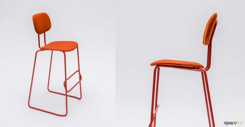 Orange high stool in fabric