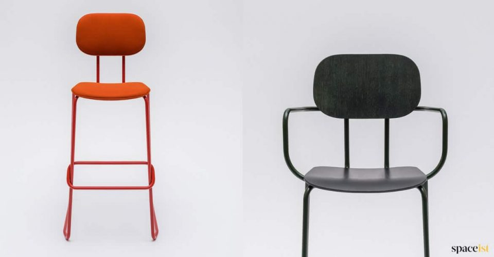 Red stool with armrests