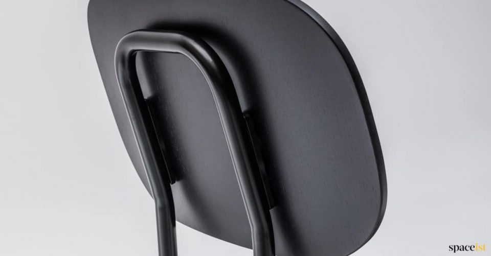 Metal framed chair closeup