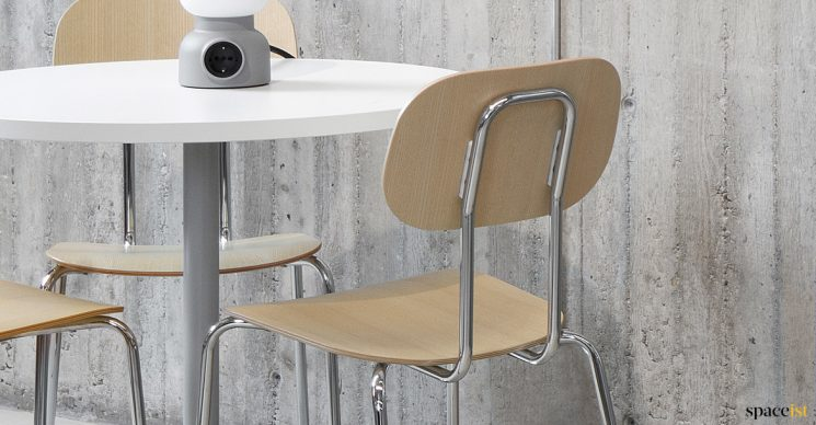 Plywood cafe chair with chrome frame