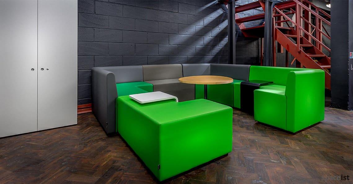 Spaceist showroom green modualr cubes