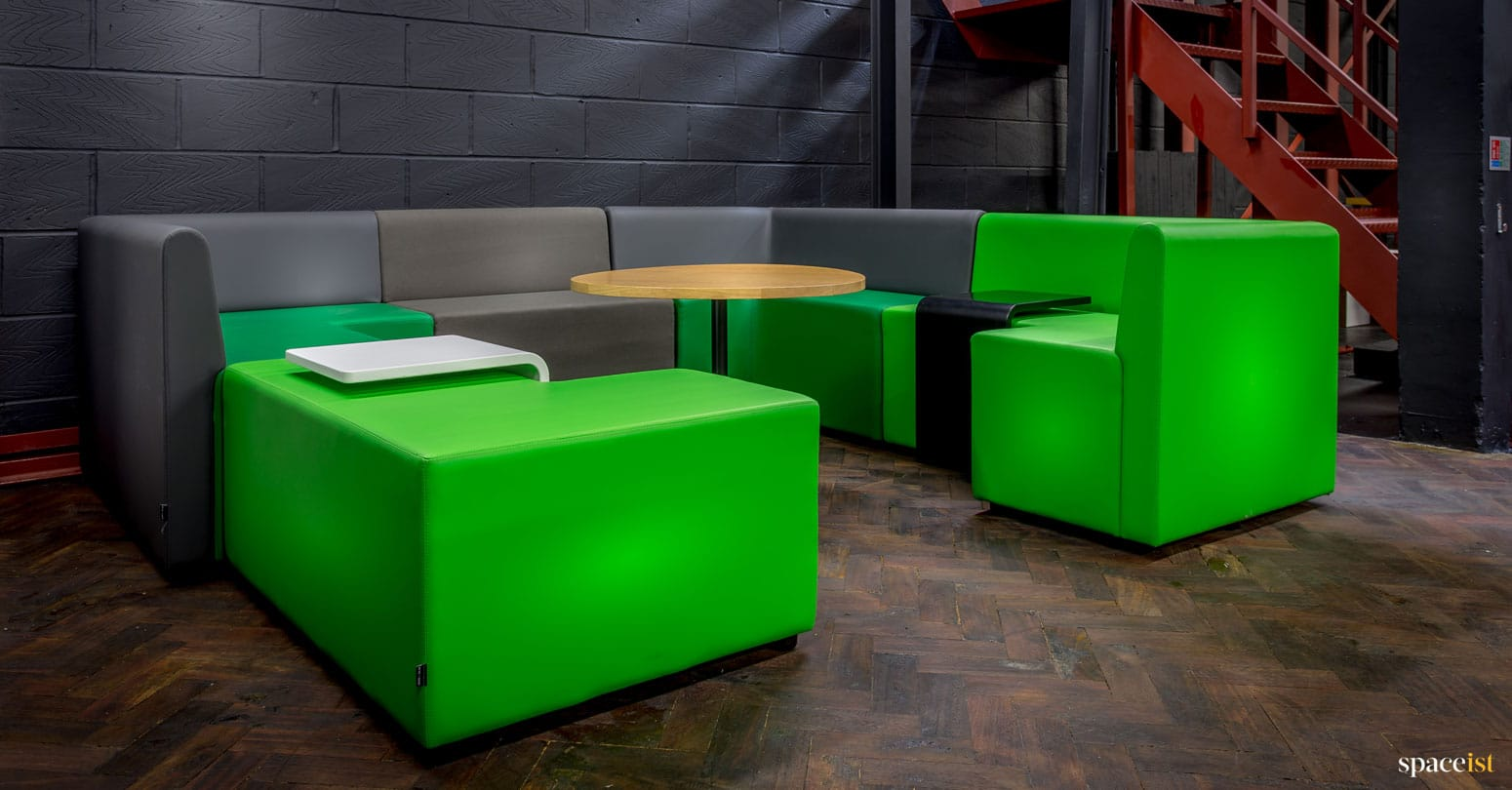 spaceist showroom green modular cubes