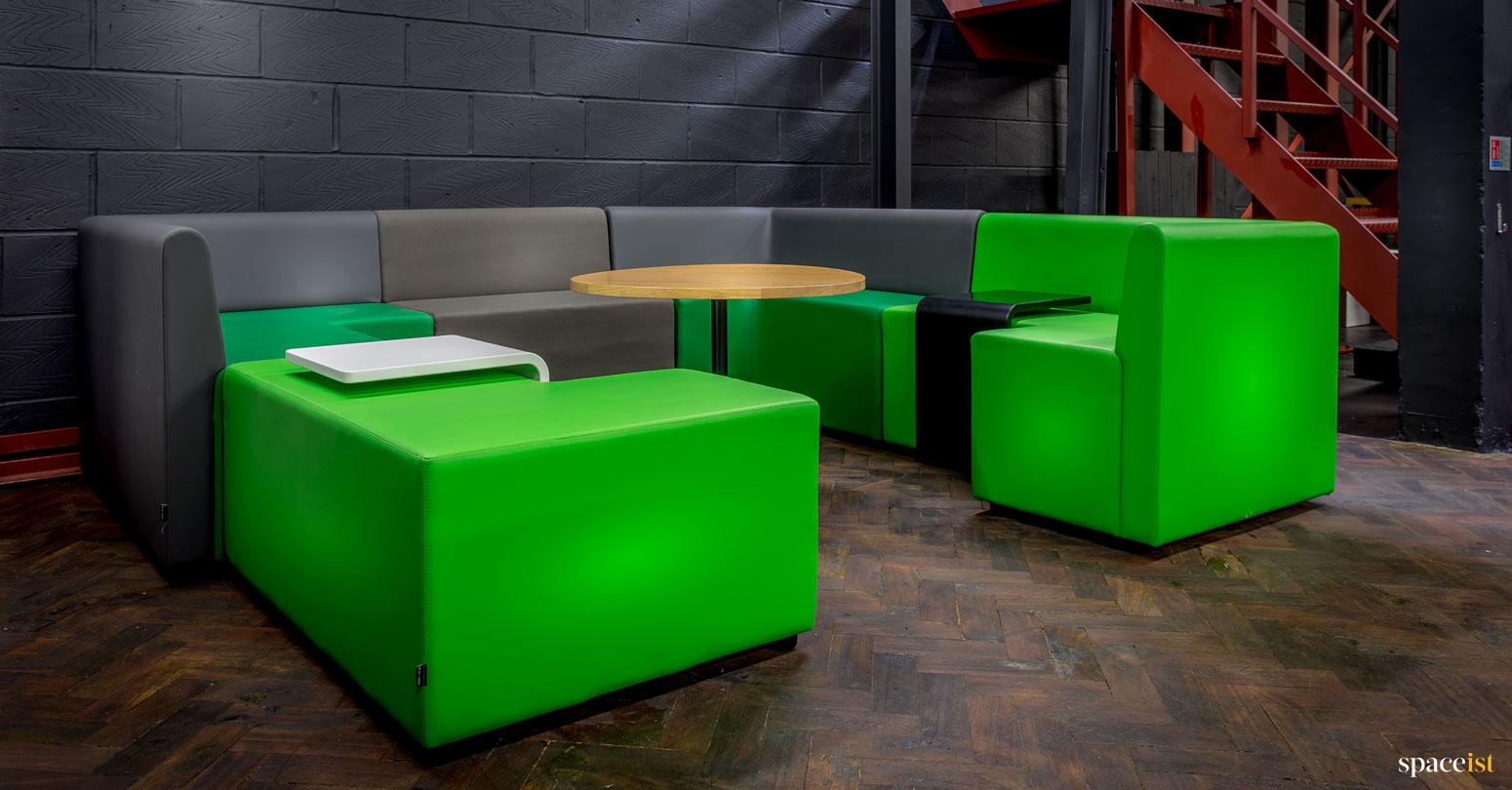 spaceist showroom green modular cubes
