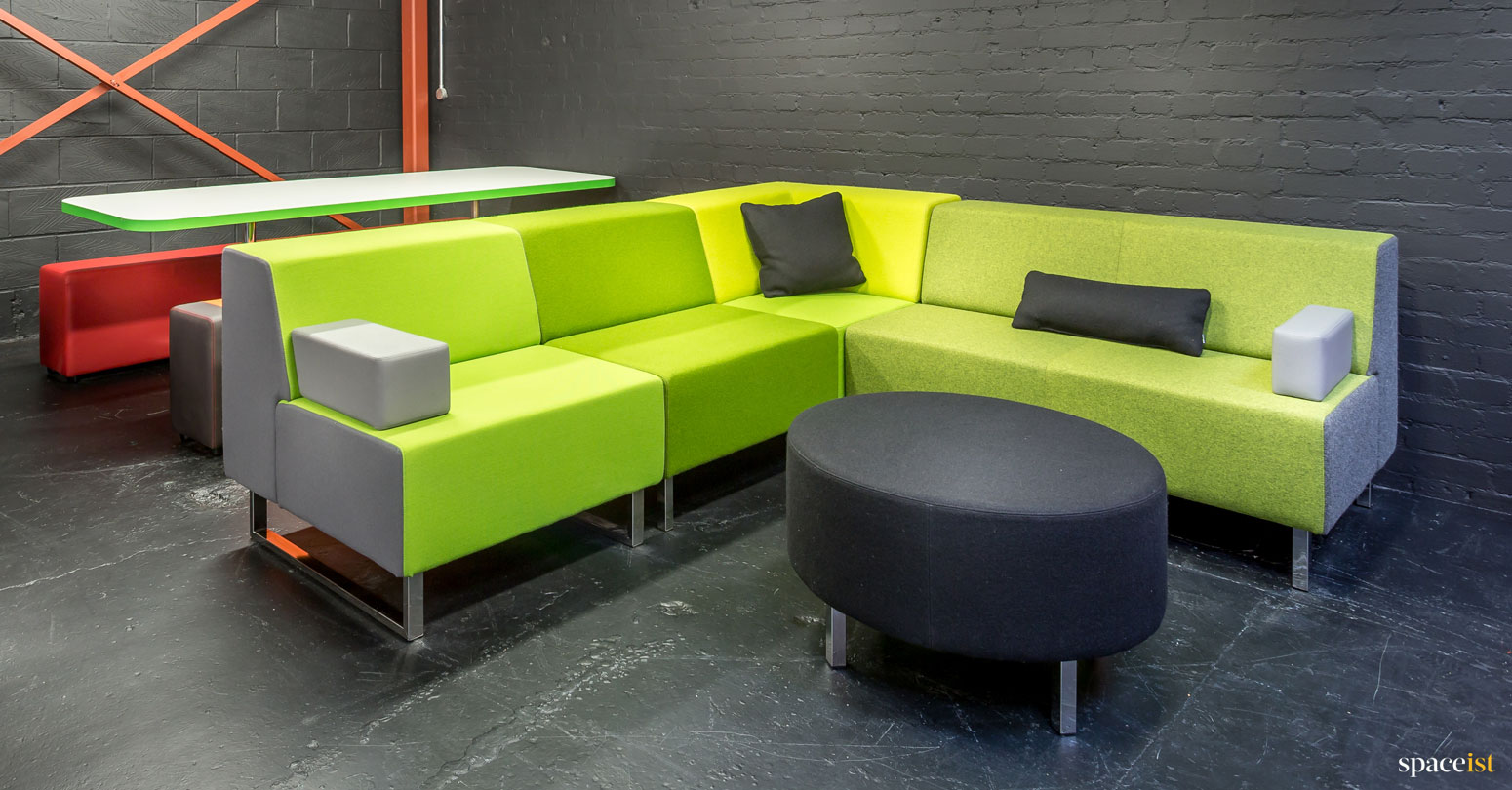 Modular Corner Sofa in Green Fabric