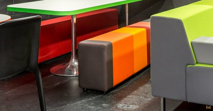 Very colourful canteen bench