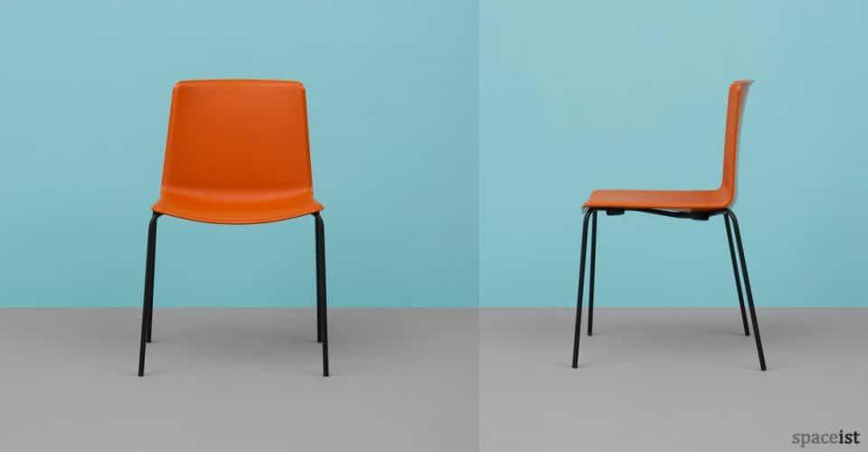 Weet burnt orange cafe chair with black legs