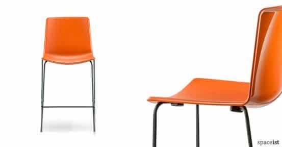 Weet orange stacking bar stool with a black leg