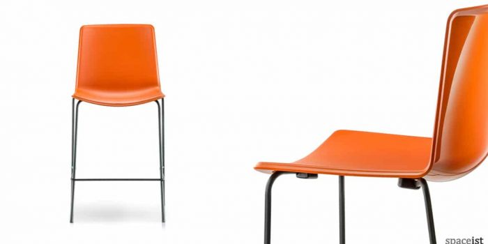 Weet orange stacking bar stool with a black leg