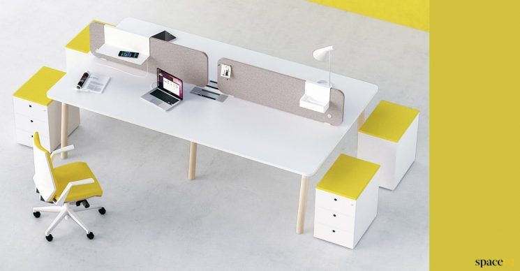 4 person bench desk yellow