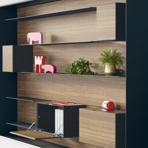 Stylish wall shelving for executive office