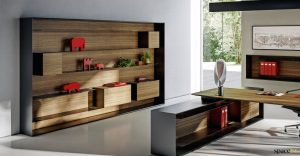 Executive wall storage walnut