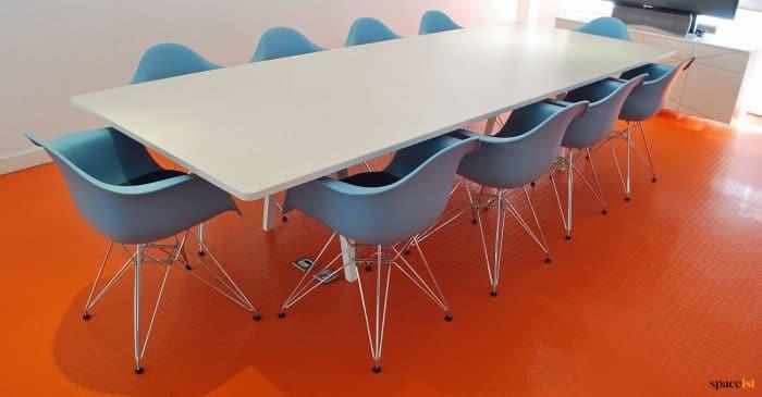Long table orange floor
