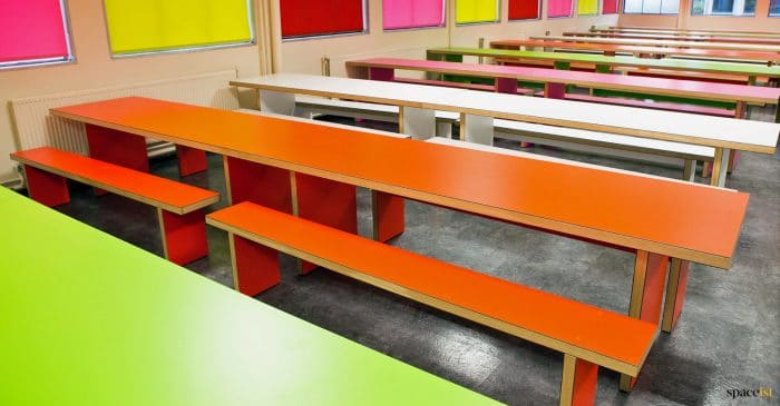 School cafeteria tables colourful