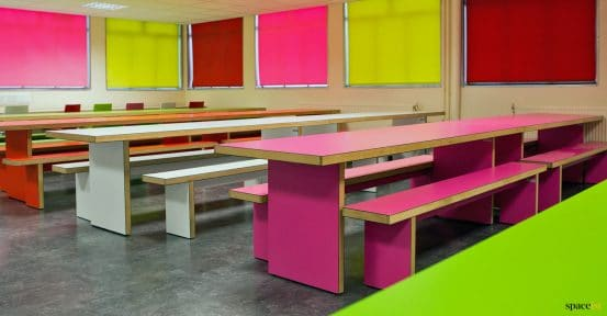 Pink school cafeteria tables