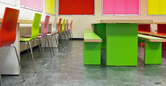Cafeteria tables green