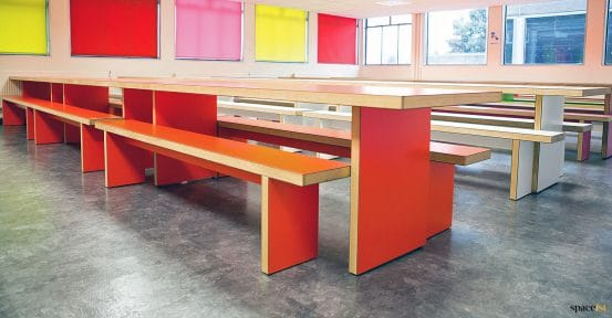 red canteen table