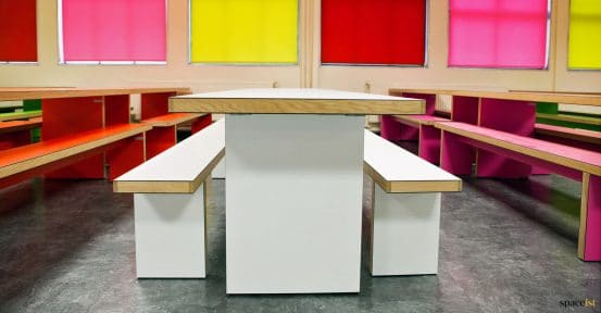 White canteen table + benches