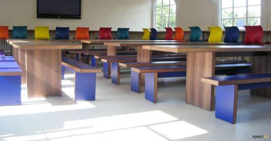 school dining hall tables dark wood