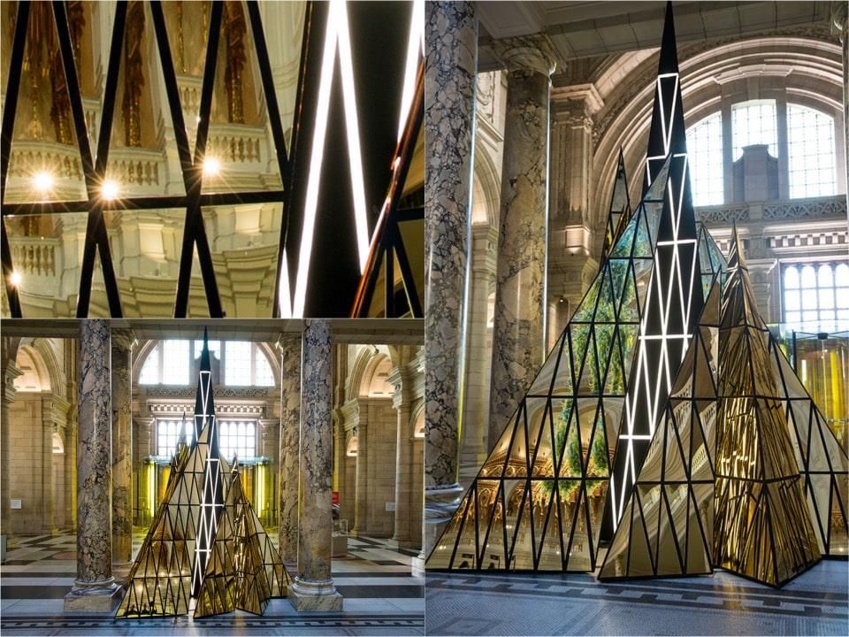 VA Mirror gold Christmas tree installation 2104