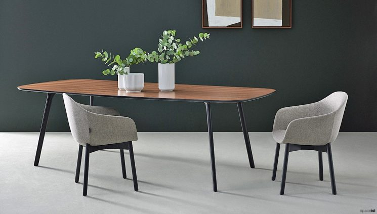 Walnut + Black Table