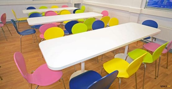 White long school tables