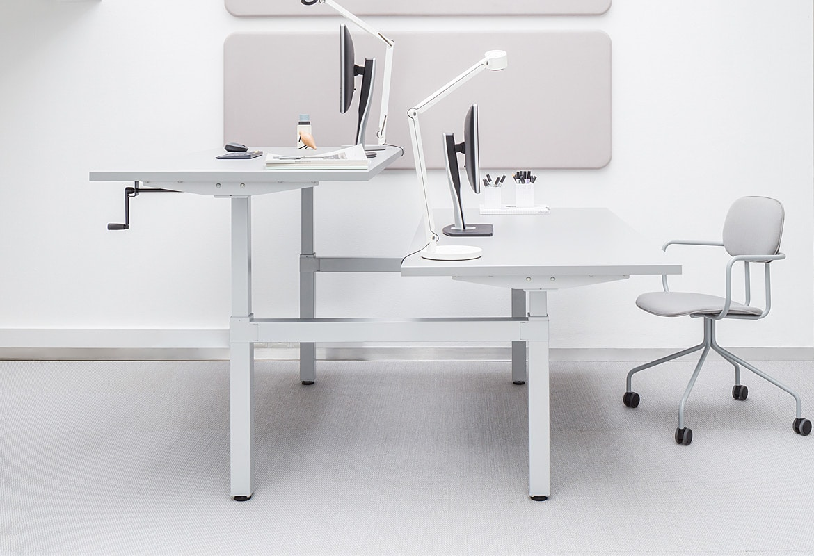 Drive Y White 2 Person Sit Stand Desk 65 130 Cm Spaceist