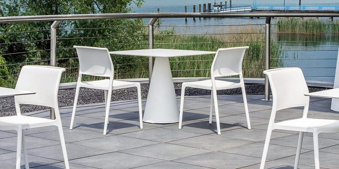 White Outdoor Cafe Table