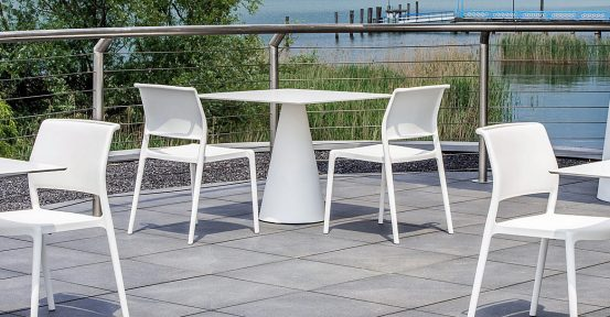 White Outdoor Table with Chairs