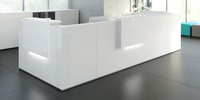 White 2 Person Reception Desk