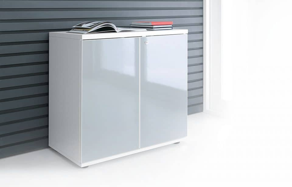 White gloss cabinet low