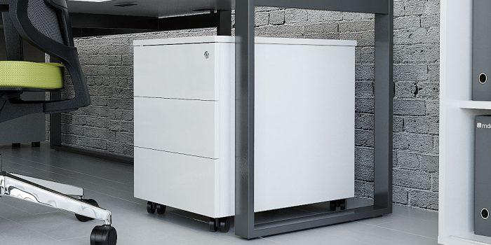 White metal pedestal cabinet